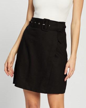 Atmos & Here Atmos&Here - Women's Black Mini skirts - Scarlett Linen Blend Mini Skirt - Size 8 at The Iconic