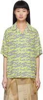 Ashley Williams Green and Purple Silk Tattoo Print Shirt