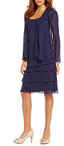 S.L. Fashions Lace-Shoulder Chiffon Jacket Dress
