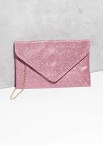 Missy Empire Jaci Pink Glitter Envelope Clutch Bag