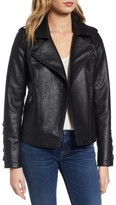 Steve Madden Women's Lace Detail Faux Leather Biker Jacket