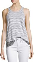 Vince Striped Mixed-Media Slub Tank