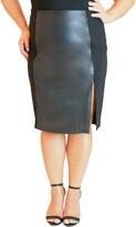 Maree Pour Toi Ponte Side Stripe Faux Leather Pencil Skirt