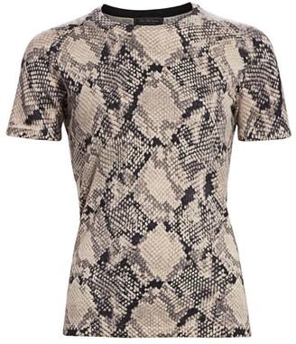 Saks Fifth Avenue Snakeskin Print Cashmere Short Sleeve Sweater