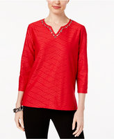 Alfred Dunner Talk of The Town Textured Embellished Top