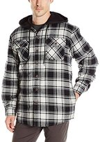 Wrangler Authentics Men's Long Sleeve Quilted Lined Flannel Shirt Jacket W/ Hood