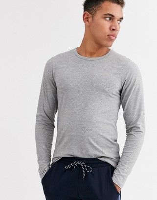 Jack and Jones Essentials long sleeve t-shirt in gray