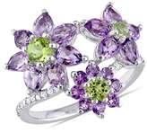 Laura Ashley Amethyst, Peridot And Diamond Accent Ring.