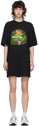 MSGM Black Graphic Monkey T-Shirt Dress