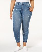 Melissa McCarthy Trendy Plus Size Paint-Splatter Rambler Wash Pencil Jeans