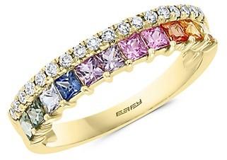 Effy 14K Yellow Gold Multi-Color Sapphire Diamond Ring
