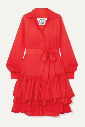 Evi Grintela Natalie Ruffled Cotton-poplin Midi Dress