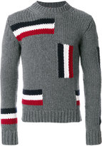 Moncler jumper with tricolour striped blocks