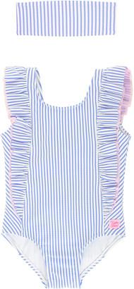 RuffleButts Girl's Seersucker Striped Ruffle One-Piece Swimsuit w/ Headband, Size 3M-10