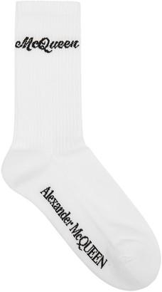 Alexander McQueen White Logo-intarsia Cotton-blend Socks