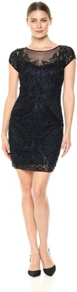 Pisarro Nights Women's Short Dress with Cap Sleeve and Illusion Neck