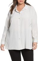 Eileen Fisher Stripe Silk Button-Up Shirt