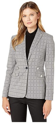 Calvin Klein Plaid Blazer with Tabs and Pockets (Light Grey Glen Plaid) Women's Clothing
