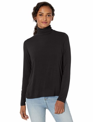 Majestic Filatures Women's Viscose/Elastane Long Sleeve Turtleneck with Back Pleat