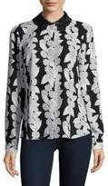 Karl Lagerfeld Paris Lace Collar Button-Down Shirt