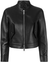 DSQUARED2 cropped leather jacket - women - Sheep Skin/Shearling/Polyamide/Spandex/Elastane/Viscose - 38