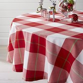 "Crate & Barrel Holiday Plaid 60"" Round Tablecloth"