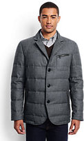 Lands' End Men's Wool Flannel Quilted Blazer-Olive Heather