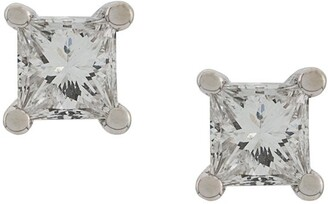 Delfina Delettrez 18kt white gold Dots Solitare princess diamond stud earrings
