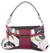Emilio Pucci Abstract Leather-Trimmed Shoulder Bag