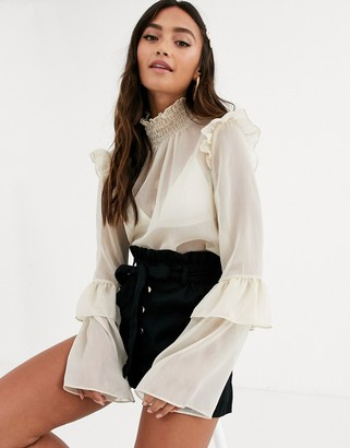 In The Style x Dani Dyer high neck chiffon blouse with frill detail-Cream