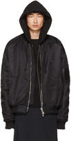 Juun.J Black Hooded Bomber Jacket