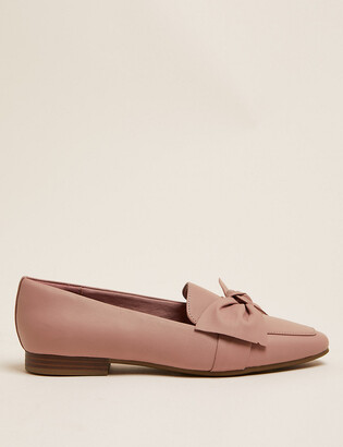 Marks and Spencer Leather Bow Flat Square Toe Loafers