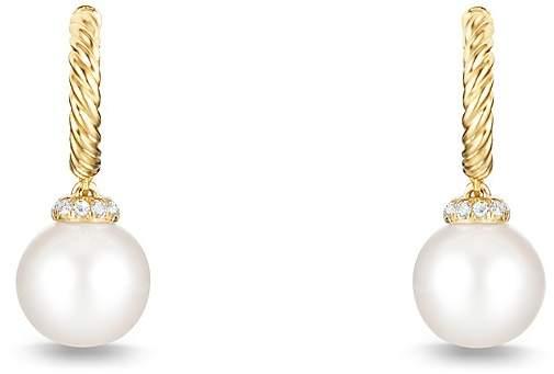 David Yurman Solari Hoop Earrings with Pearls and Diamonds in 18K Gold