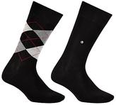 Burlington Argyle Plain Short Socks, One Size, Pack Of 2, Black