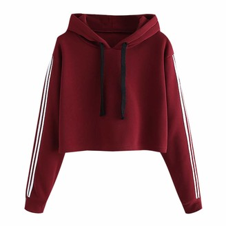 Lazzboy Womens Sweatshirt Hoodie Tops Blouse Long Sleeve Striped Pure Colour Drawtring Jumper Hooded Pullover(L(12)