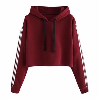 Soonerquicker Cropped Hoodie Womens Hoodies for Teens Girls Long Sleeve Crop Top Sweatshirts Women Pullover Hoody Casual Wine