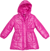 Pink Platinum Pink Foil Long Puffer Jacket - Girls