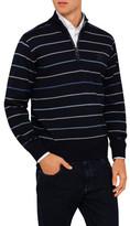 Paul & Shark Zip Neck Stripe Fine Gauge Sweater