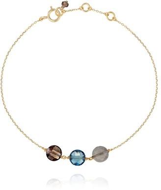 Perle de Lune Trio Pastille Bracelet - Grey Moonstone, Blue Topaz, Smoky Quartz & 18K Gold