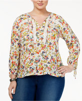 Jessica Simpson Trendy Plus Size Gauze Peasant Blouse