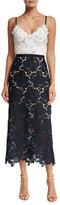 Catherine Deane Sleeveless Two-Tone Lace Midi Dress, Ivory/Navy
