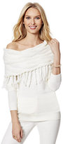 New York & Co. Lurex Fringed Cowl-Neck Sweater