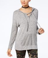 Miss Chievous Juniors' Oversized Lace-Up Hoodie Tunic