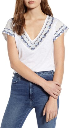 Caslon Embroidered Neck Short Sleeve Cotton Blend Top