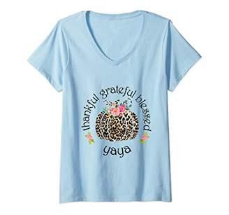 Ya-Ya Womens Thanksgiving Thankful Grateful Blessed Funny Gift V-Neck T-Shirt
