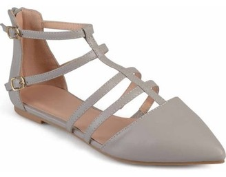 Brinley Co. Womens Pointed Toe Strappy Gladiator Flats