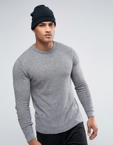 Asos Muscle Fit Jumper With Waffle Texture In Grey