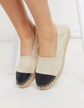 Accessorize flat toe cap espadrilles in beige and black