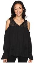 Brigitte Bailey Sine Long Sleeve Crocheted Cold Shoulder Top