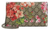 Gucci Women's Gg Blooms Supreme Canvas Wallet On A Chain - Beige